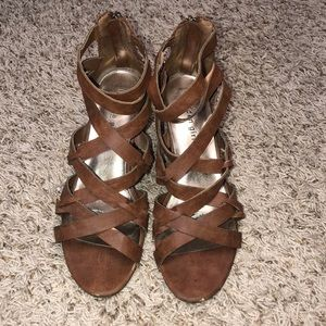 Madden Girl Cognac Strappy Wedges